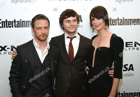"""James McAvoy, from left, Evan Peters and Carolina Bartczak attend a special screening of """"X-Men: Apocalypse"""" at Time Inc., in New York"""