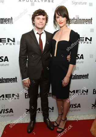 """Stock Image of Evan Peters, left, and Carolina Bartczak attend a special screening of """"X-Men: Apocalypse"""" at Time Inc., in New York"""