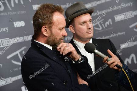 """Musicians Sting, left, and J. Ralph attend the special screening of HBO's """"Jim: The James Foley Story"""" at the Time Warner Center, in New York"""