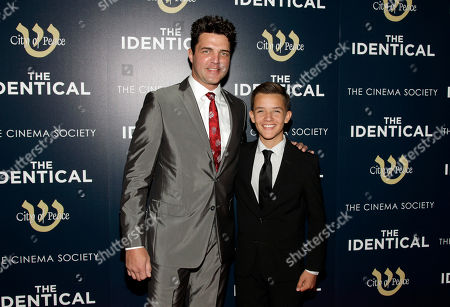 """Actor Blake Rayne, left, and Noah Urrea, right, attend the premiere of """"The Identical"""" on in New York"""