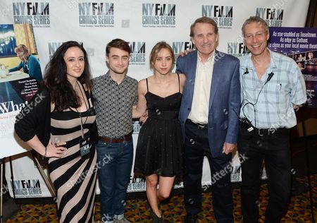 """NYFCS producer Isil Bagdadi, left, actor Daniel Radcliffe, actress Zoe Kazan, Rolling Stone film critic Peter Travers and NYFCS creator and producer Mark Ehrenkranz attend the New York Film Critics Series screening of """"What If"""" at the AMC Empire 25 on in New York"""