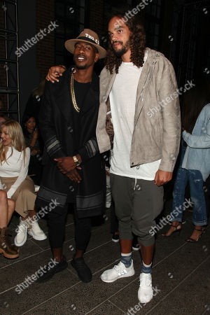 Basketball players Iman Shumpert, left, and Joakim Noah, right, attend the DKNY fashion show during NYFW Spring/Summer 2017 at the High Line, in New York