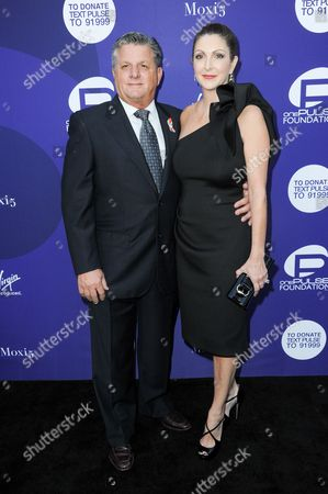 Orlando Rosario Poma, left, and Barbara Poma attend the onePULSE Foundation Benefit for Orlando at NeueHouse Hollywood, in Los Angeles