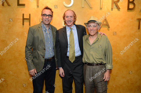 """From left, David Melville, Armin Shimerman and Larry Cedar attend the opening night of """"Discord"""" at The Geffen Playhouse on in Westwood, Calif"""