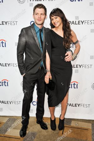 """Joseph Morgan, left, and Persia White arrive at the PALEYFEST 2014 - """"The Originals"""", in Los Angeles"""