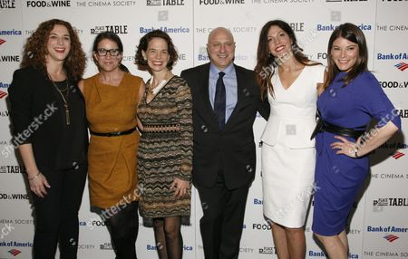 """From left, Kristi Jacobson, Christina Grdovic, Dana Cowin, Tom Colicchio, Lori Silverbush and Gail Simmons attend a screening of """"A Place at the Table"""" presented by Bank of America and The Cinema Society, at the Museum of Modern Art in New York"""