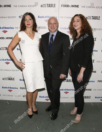 """From left, director Lori Silverbush, restaurateur Tom Colicchio and director Kristi Jacobson attend a screening of """"A Place at the Table"""" presented by Bank of America and The Cinema Society, at the Museum of Modern Art in New York"""