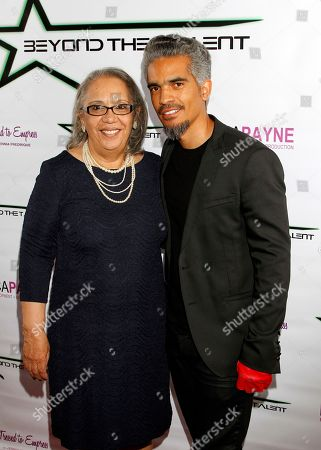 """NAACP VP of events Ana Aponte-Curtis and son Sol Aponte seen at Private Screening of """"Beyond the Talent"""", on at Smoke & Mirrors in West Hollywood. California"""