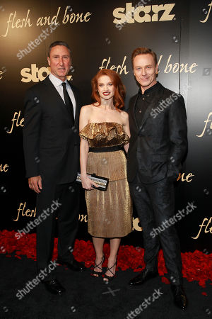 Starz Managing Director, Carmi Zlotnik, Flesh and Bone's Sarah Hay, and Ben Daniels seen at the NYC premiere of Starz's original limited series Flesh and Bone at the NYU Skirball Center for the Performing Arts on in New York