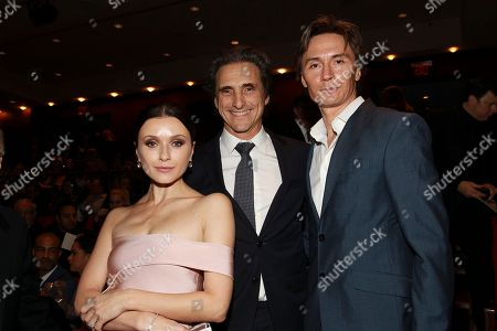 Irina Dvorovenko, Lawrence Bender, and Maxim Beloserkovsky seen at the NYC premiere of Starz's original limited series Flesh and Bone at the NYU Skirball Center for the Performing Arts on in New York