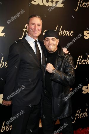 Starz Managing Director Carmi Zlotnik and Luis Antonio Ramos seen at the NYC premiere of Starz's original limited series Flesh and Bone at the NYU Skirball Center for the Performing Arts on in New York