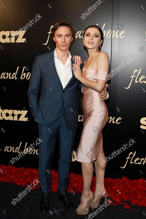 Maxim Beloserkovsky and Irina Dvorovenko seen at the NYC premiere of Starz's original limited series Flesh and Bone at the NYU Skirball Center for the Performing Arts on in New York
