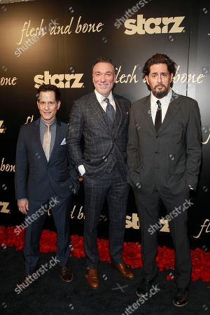 Stock Photo of Actors John Allee, Patrick Page, and Reg Rogers seen at the NYC premiere of Starz's original limited series Flesh and Bone at the NYU Skirball Center for the Performing Arts on in New York