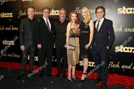 Actor Ben Daniels, executive producer Kevin Brown, executive producer John Melfi, actress Sarah Hay, Flesh and Bone creator and executive producer, Moira Walley-Beckett, and executive producer Lawrence Bender seen at the NYC premiere of Starz's original limited series Flesh and Bone at the NYU Skirball Center for the Performing Arts on in New York