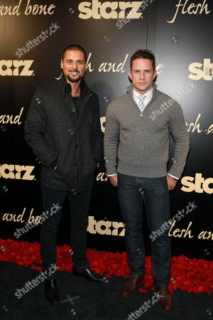 JR Ramirez and David Fumero seen at the NYC premiere of Starz's original limited series Flesh and Bone at the NYU Skirball Center for the Performing Arts on in New York