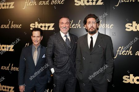 Stock Picture of Actors John Allee, Patrick Page, and Reg Rogers seen at the NYC premiere of Starz's original limited series Flesh and Bone at the NYU Skirball Center for the Performing Arts on in New York