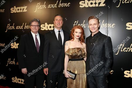 Executive Producer Kevin Brown, Starz Managing Director Carmi Zlotnik, Sarah Hay, and Ben Daniels seen at the NYC premiere of Starz's original limited series Flesh and Bone at the NYU Skirball Center for the Performing Arts on in New York