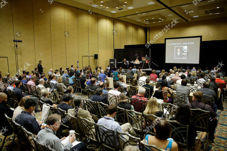 """Vice President Archive of American Television Karen Herman hosts a conversation with Emmy ® Award-winning writer/producer Mike Schur during BEA's """"Coffee With...Mike Schur,"""" presented by the Television Academy Foundation on in Las Vegas"""