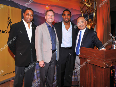 The Television Academy's Screech Washington, and from left, and President/COO Maury McIntyre, Jason George and Clyde Kusatsu seen at the Television Academy's 66th Emmy Awards Dynamic and Diverse Nominee Reception at the Television Academy, in the NoHo Arts District in Los Angeles