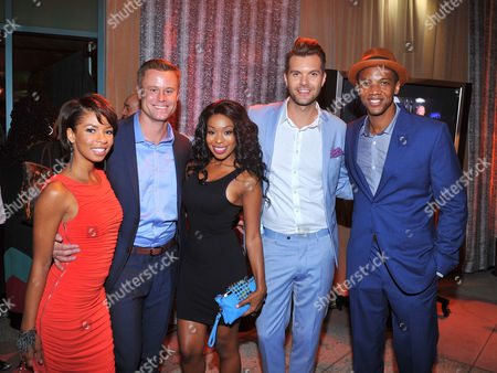 Angel Parker and from left, Eric Nenninger, Porscha Coleman, AJ Gibson and J. August Richards seen at the Television Academy's 66th Emmy Awards Dynamic and Diverse Nominee Reception at the Television Academy, in the NoHo Arts District in Los Angeles