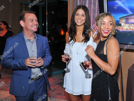 Patrick Welburn and from left, Amanda Lungaro and Zoe Soul seen at the Television Academy's 66th Emmy Awards Dynamic and Diverse Nominee Reception at the Television Academy, in the NoHo Arts District in Los Angeles