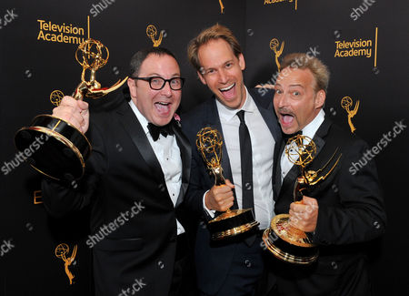Joe Celli, from left, David Korins,and Jason Howard winners of the award for outstanding production design for a variety, nonfiction, event or award special for Grease: Live pose for a portrait during night two of the Television Academy's 2016 Creative Arts Emmy Awards at the Microsoft Theater on in Los Angeles