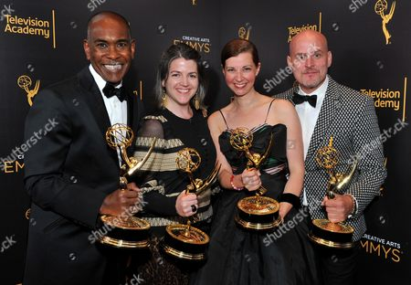 Paul Tazewell, Rachel Attridge, Dana Burkhart, Rory Powers EXCLUSIVE -The Wiz Live! accepts the award for outstanding costumes for variety nonfiction or reality programming poses for a portrait during night two of the Television Academy's 2016 Creative Arts Emmy Awards at the Microsoft Theater on in Los Angeles