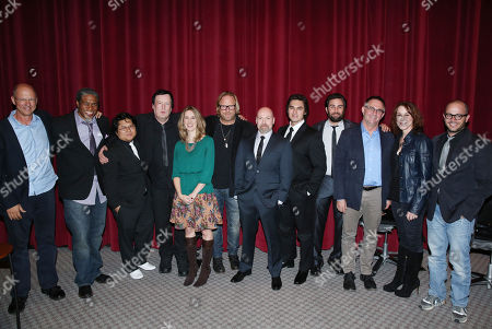 "From left, Mike Royce, Ali LeRoi, Jimmy Nguyen, Des Doyle, Tara Bennett, Matthew Carnahan, Steven S. DeKnight, Jason Rose, Ryan Patrick McGuffey, Hart Hanson, Janet Tamaro, and Damon Lindelof pose for a photo after the Television Academy's premiere screening of the documentary ""Showrunners: The Art Of Running A Show"" at the Leonard H. Goldenson Theater on in the NoHo Arts District in Los Angeles"
