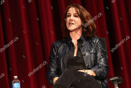 """Janet Tamaro is seen during the panel discussion after the Television Academy's premiere screening of the documentary """"Showrunners: The Art Of Running A Show"""" at the Leonard H. Goldenson Theater on in the NoHo Arts District in Los Angeles"""