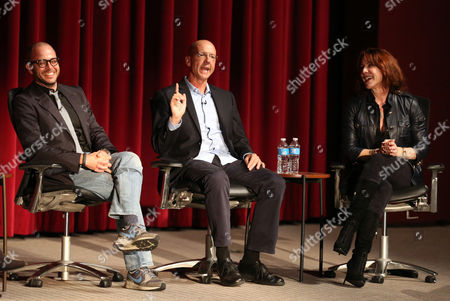"""Damon Lindelof, left, Mike Royce, center, and Janet Tamaro are seen during the panel discussion after the Television Academy's premiere screening of the documentary """"Showrunners: The Art Of Running A Show"""" at the Leonard H. Goldenson Theater on in the NoHo Arts District in Los Angeles"""