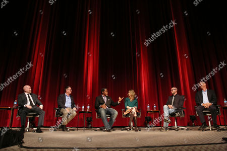 "From left, Steven S. DeKnight, Hart Hanson, Ali LeRoi, Tara Bennett, Damon Lindelof, and Mike Royce are seen during the panel discussion after the Television Academy's premiere screening of the documentary ""Showrunners: The Art Of Running A Show"" at the Leonard H. Goldenson Theater on in the NoHo Arts District in Los Angeles"
