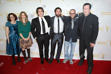 """From left, Jane Espenson, Tara Bennett, Jason Rose, Ryan Patrick McGuffey, Damon Lindelof, and Des Doyle pose together at the Television Academy's premiere screening of the documentary """"Showrunners: The Art Of Running A Show"""" at the Leonard H. Goldenson Theater on in the NoHo Arts District in Los Angeles"""