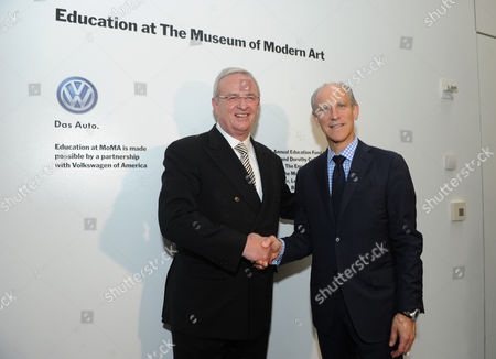 IMAGE DISTRIBUTED FOR MoMA - Dr. Martin Winterkorn, left, Chairman of the Board of Directors of Volkswagen Group of America, Inc. and Chairman of the Board of Management of Volkswagen Aktiengesellschaft, and Glenn D. Lowry, Director, Museum of Modern Art, announce an expanded, two-year partnership between The Museum of Modern Art, MoMA PS1 and Volkswagen Group of America at The Museum of Modern Art, in New York