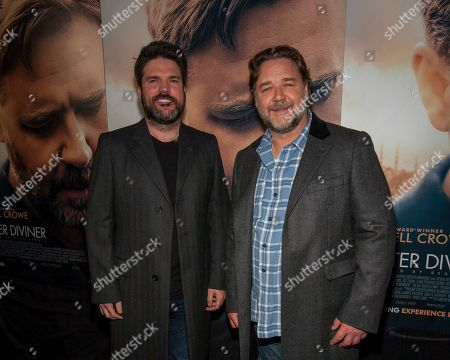 Producer Keith Rodger and actor and director Russell Crowe make an appearance on the red carpet for the Chicago premiere of The Water Diviner at the ShowPlace ICON Theatre, on in Chicago
