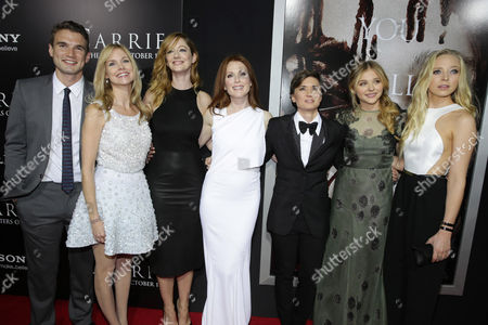Alex Russell, Cynthia Preston, Judy Greer, Julianne Moore, Director Kimberly Peirce, Chloe Grace Moretz and Portia Doubleday seen at The World Premiere of MGM and Screen Gems' 'Carrie,' on Monday, Oct, 7, 2013 in Hollywood
