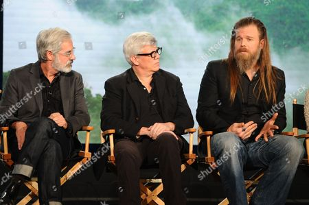 Producers Peter Mattei and Peter Tolan and actor Ryan Hurst seen at WGN America Winter TCA 2016 at The Langham Huntington Hotel on in Pasadena, CA