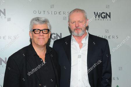 Producer Peter Tolan and actor David Morse seen at WGN America Winter TCA 2016 at The Langham Huntington Hotel on in Pasadena, CA