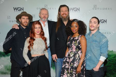 "Outsiders"" cast from left: Thomas M. Wright, Gillian Alexy,David Morse, Ryan Hurst, Christina Jackson and Kyle Gallner are seen at WGN America Winter TCA 2016 at The Langham Huntington Hotel on in Pasadena, CA"