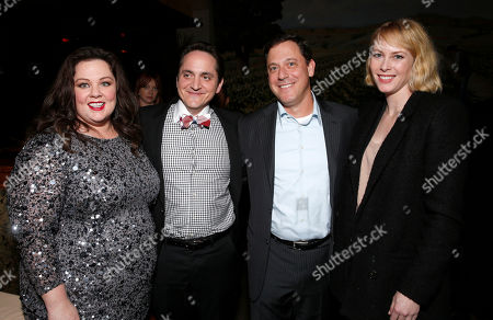 """Stock Image of Melissa McCarthy and Ben Falcone, Universal Pictures Chairman Adam Fogelson and Hillary Fogelson attend the after party for the world premiere of """"Identity Thief"""" at the Mann Village Westwood on in Los Angeles"""