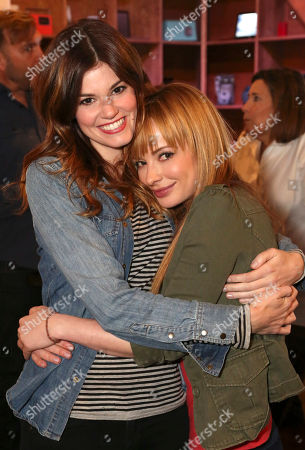 "Rachel Melvin, left, and Ashley Rickards attend the ""Awkward"" live tweet event at The Microsoft Lounge, in Venice, Calif"