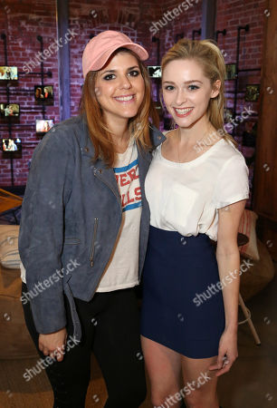 """Molly Tarlov, left, and Greer Grammer attend the """"Awkward"""" live tweet event at The Microsoft Lounge, in Venice, Calif"""