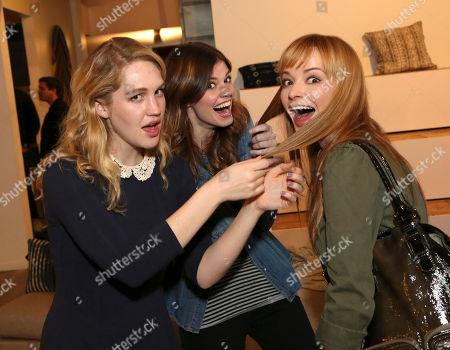 "Hope Lauren, from left, Rachel Melvin and Ashley Rickards attend the ""Awkward"" live tweet event at The Microsoft Lounge, in Venice, Calif"