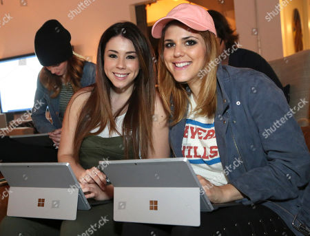 """Jillian Rose Reed, left, and Molly Tarlov attend the """"Awkward"""" live tweet event at The Microsoft Lounge, in Venice, Calif"""