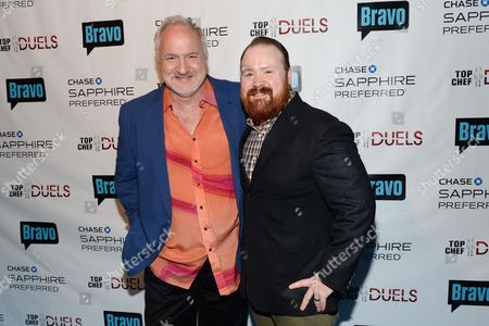 "Chef Art Smith, left, and Kevin Gillespie participate in the ""Top Chef Duels"" Premiere Tasting Event, hosted by Chase Sapphire Preferred and Bravo, at the Altman Building, on in New York"