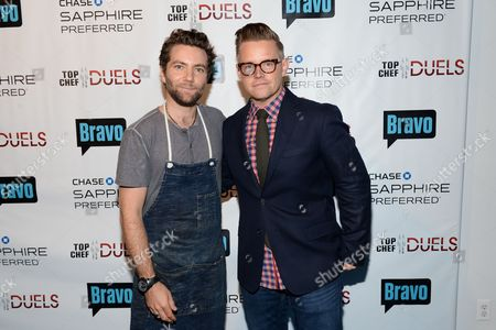 """Chefs Marcel Vigneron, left, and Richard Blais attend the """"Top Chef Duels"""" Premiere Tasting Event, hosted by Chase Sapphire Preferred and Bravo, at the Altman Building, on in New York"""