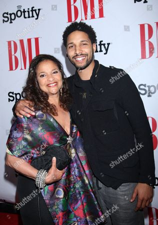 Debbie Allen and son Norman Nixon Jr. arrive at the BMI Urban Awards honoring Mariah Carey held at the Saban theatre, in Beverly Hills, Calif