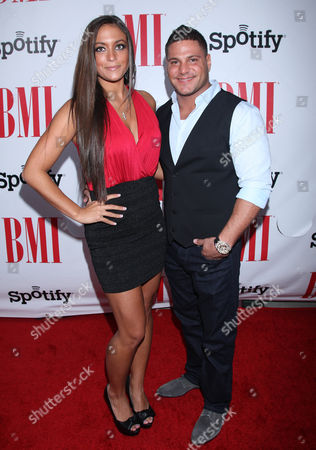 Samantha Giancola and Ronnie Ortiz-Magro arrives at the BMI Urban Awards honoring Mariah Carey held at the Saban theatre, in Beverly Hills, Calif