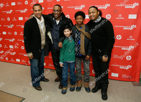 "From left to right, cast member Rege Lewis, director George Tillman, Jr., cast member Ethan Dizon, cast member Skylan Brooks, and cast member Julito McCullum pose together at the premiere of ""The Inevitable Defeat of Mister and Pete"" during the 2013 Sundance Film Festival, in Park City, Utah"