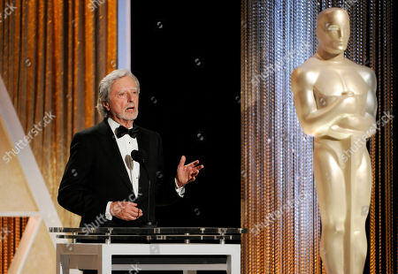 Stock Image of Director Philip Kaufman addresses the audience during the 2014 Governors Awards, in Los Angeles