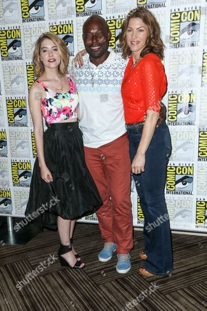 "From left, Gatlin Green, Jimmy Jean-Louis, and Rya Kihlstedt attend the ""Heroes Reborn"" press line on day 4 of Comic-Con International, in San Diego"